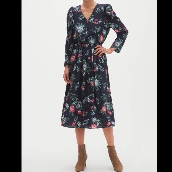 NWT Banana Republic floral puff sleeve mid dress